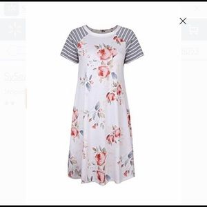 Gorgeous floral dress with grey striped sleeves